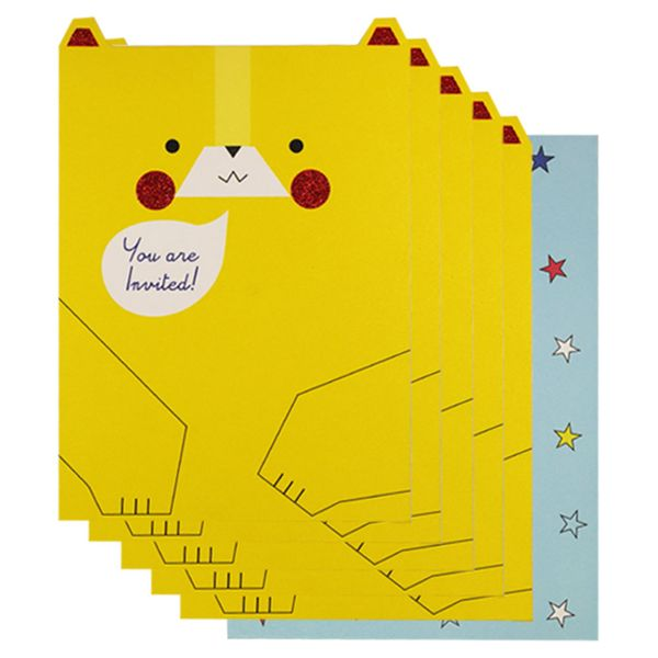 Yellow bear invitations - pack of 10