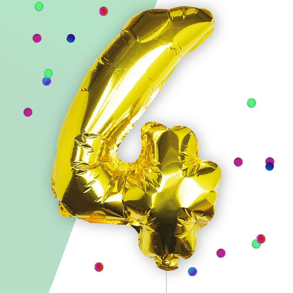 Ginger Ray for Paperchase Number 4 gold 16 inch balloon