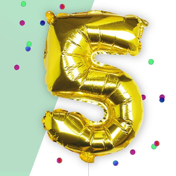 Ginger Ray for Paperchase Number 5 gold 16 inch balloon
