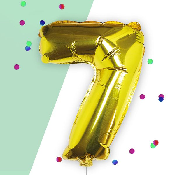 Ginger Ray for Paperchase Number 7 gold 16 inch balloon