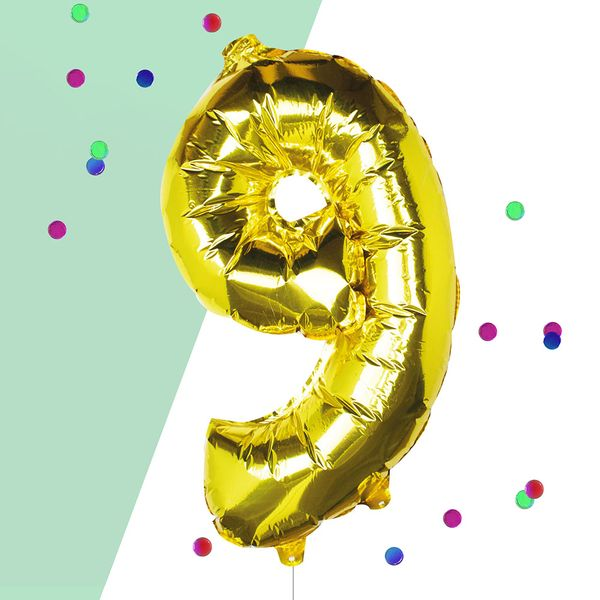 Ginger Ray for Paperchase Number 9 gold 16 inch balloon