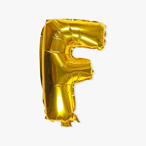 Letter F gold 16 inch balloon
