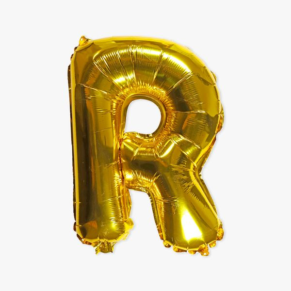Letter R gold 16 inch balloon