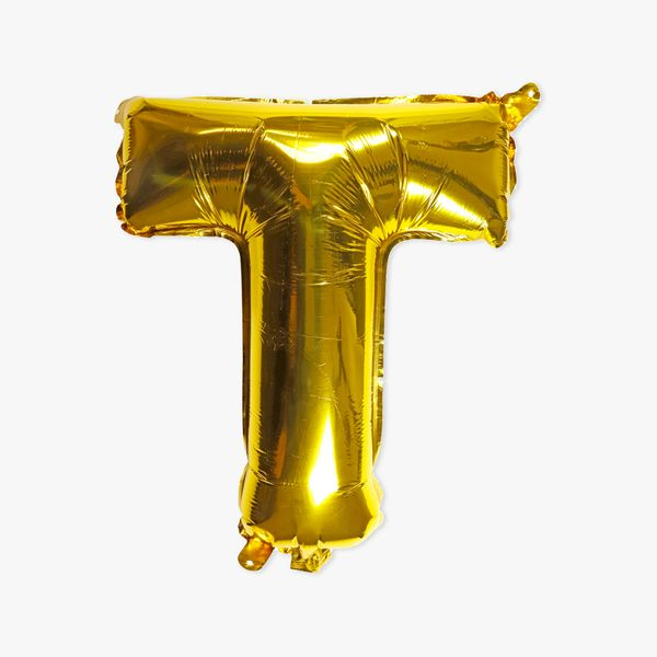 Letter T gold 16 inch balloon