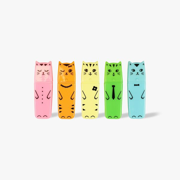 Pastel cat highlighters - set of 5