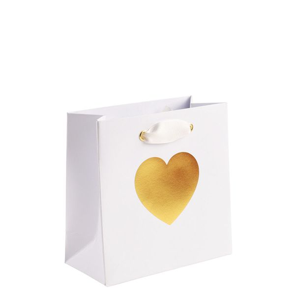 Gold heart small gift bag