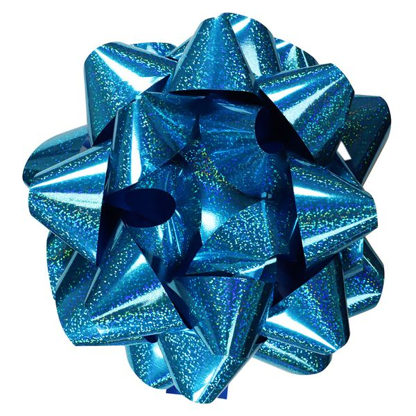 Extra-large blue holographic self-adhesive bow
