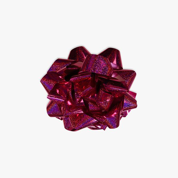 Extra-large pink holographic self-adhesive bow