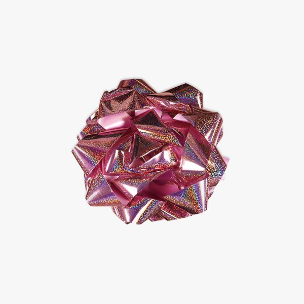 Extra-large light pink holographic self-adhesive bow