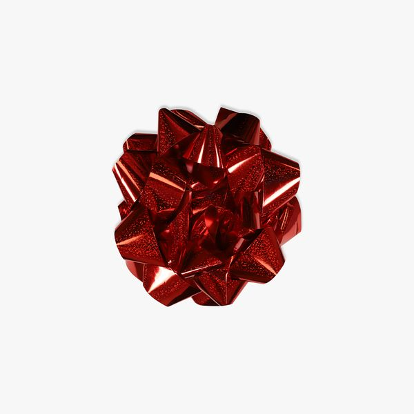 Extra-large red holographic self-adhesive bow