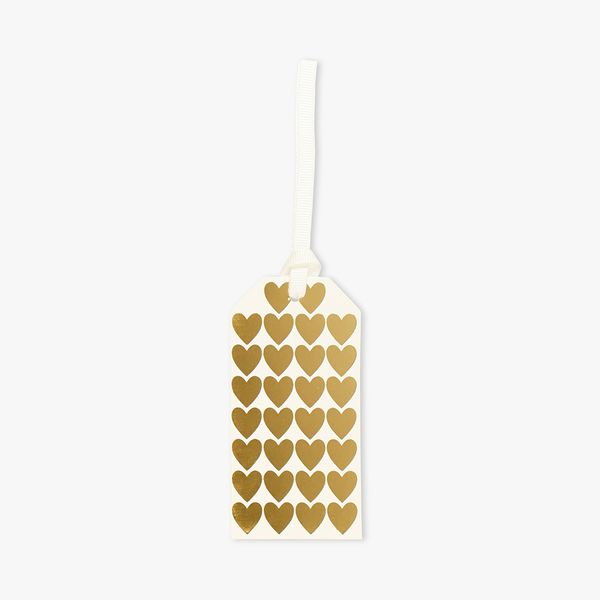 Gold heart luggage gift tags - set of 5