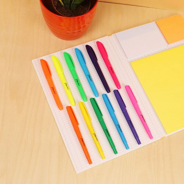 Fine liner pens and highlighters assorted - pack of 12