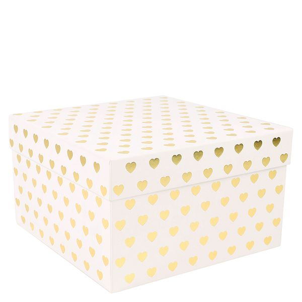 Gold foil hearts large gift box