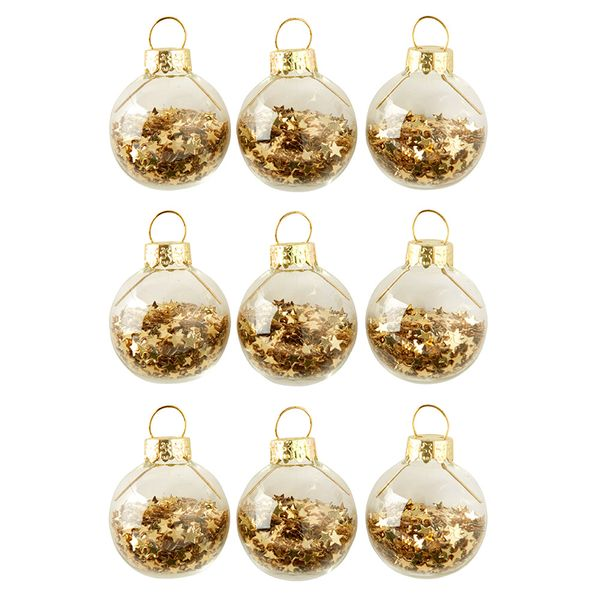 Glass gold confetti star baubles - pack of 9