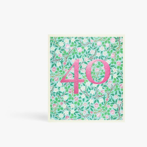Arts and Crafts floral 40th birthday card