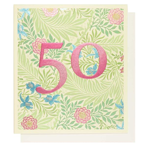 Arts and Crafts floral 50th birthday card