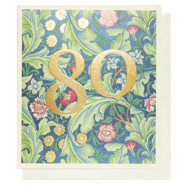 Arts and Crafts floral 80th birthday card