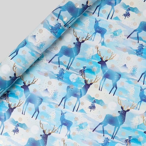 Christmas stags wrapping paper - 3m