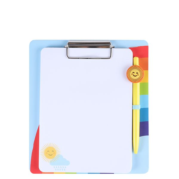 Rainbow and sunshine clipboard and pen