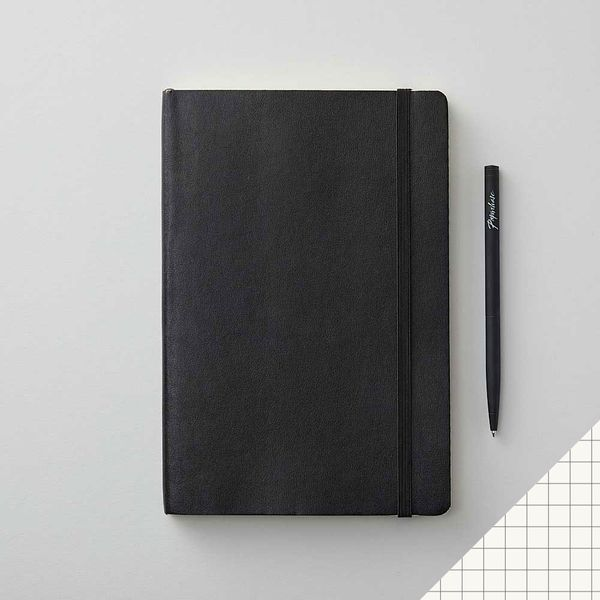 Agenzio soft black grid medium notebook