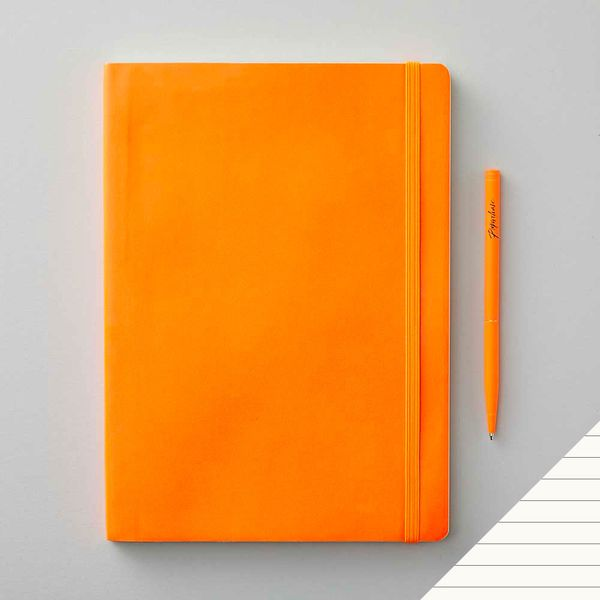 Agenzio soft atomic orange ruled large notebook