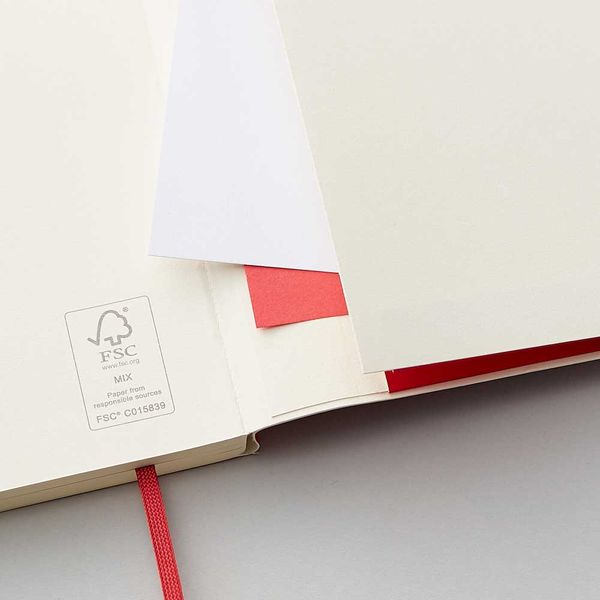 Agenzio soft red ruled large notebook