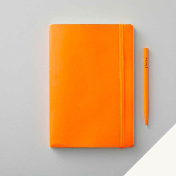 Agenzio soft atomic orange plain medium notebook