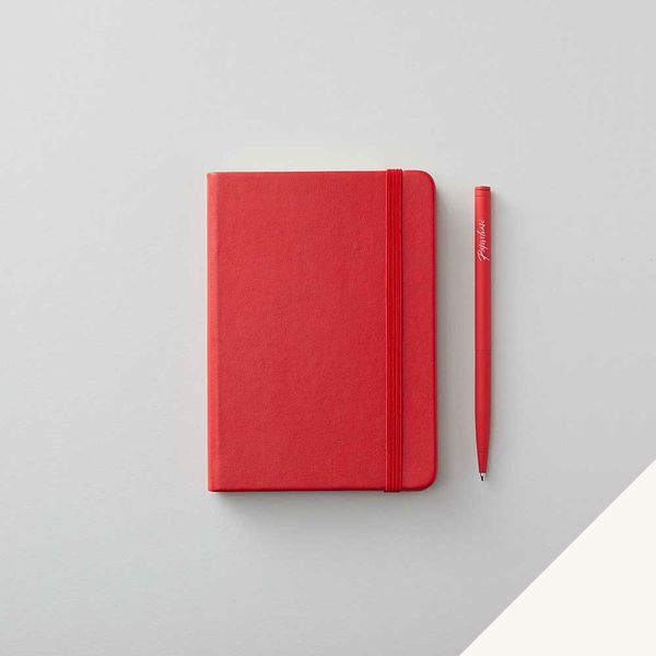 Agenzio hard red plain small notebook
