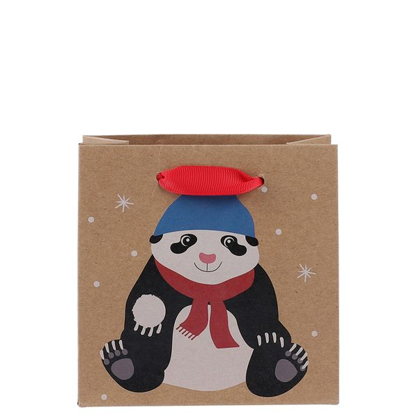 Small kraft panda gift bag