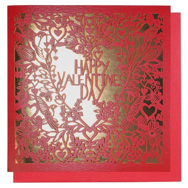 Red and gold heart laser-cut card