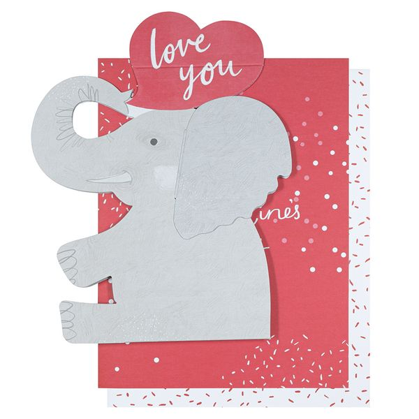 Pop-out love elephant Valentine's Day card