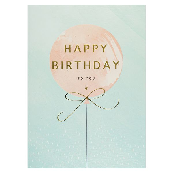 Gold-foil pink balloon happy birthday card