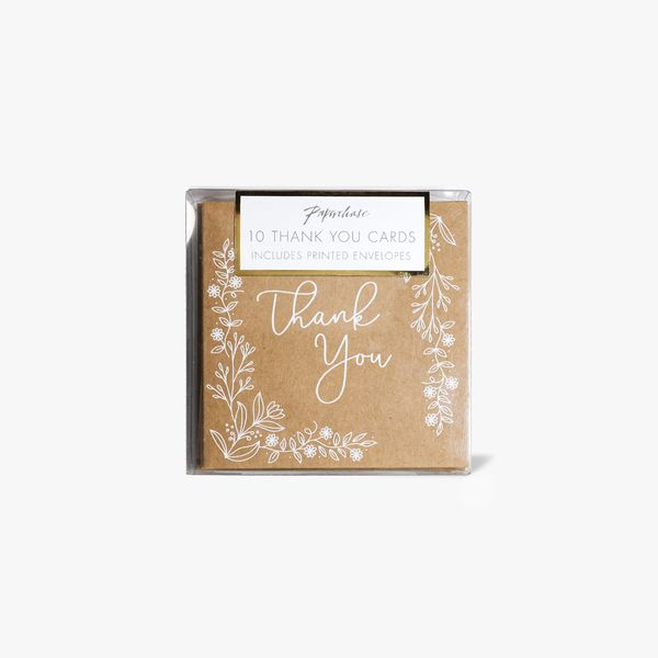 Kraft floral thank you cards - pack of 10