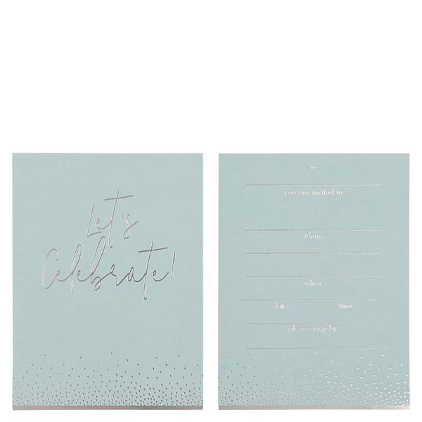 Silver blue invitations - pack of 10