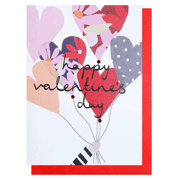 Heart balloons Valentine's Day card