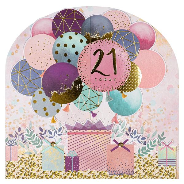 Pop out balloons 21st birthday card