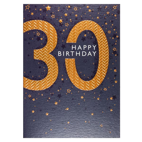 Copper embossed 30th birthday card