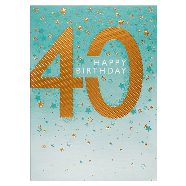 Copper embossed 40th birthday card