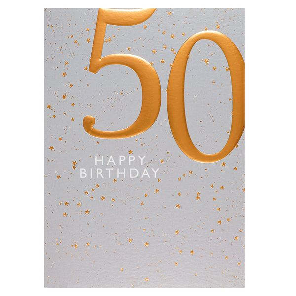 Copper embossed 50th birthday card