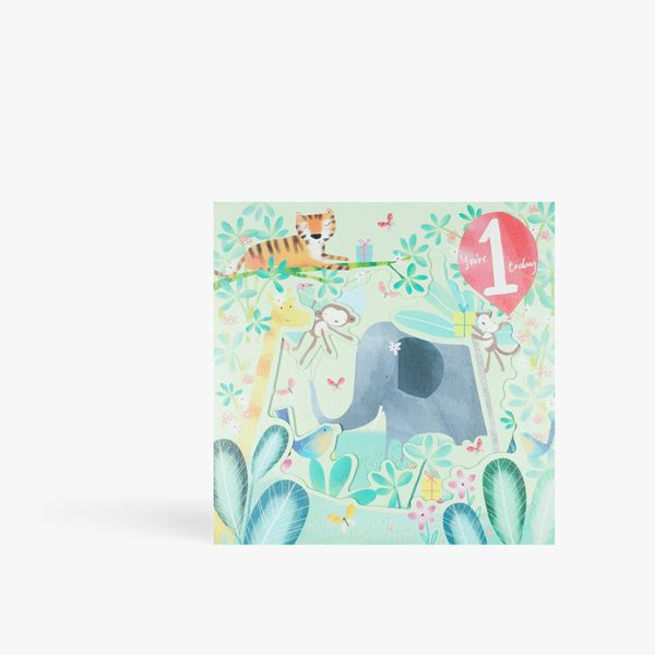 Pull out jungle 1st birthday card