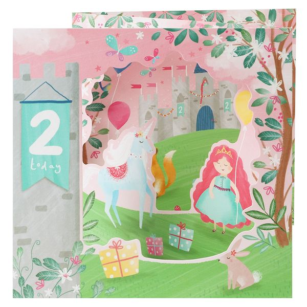 Pull out princess 2nd birthday card