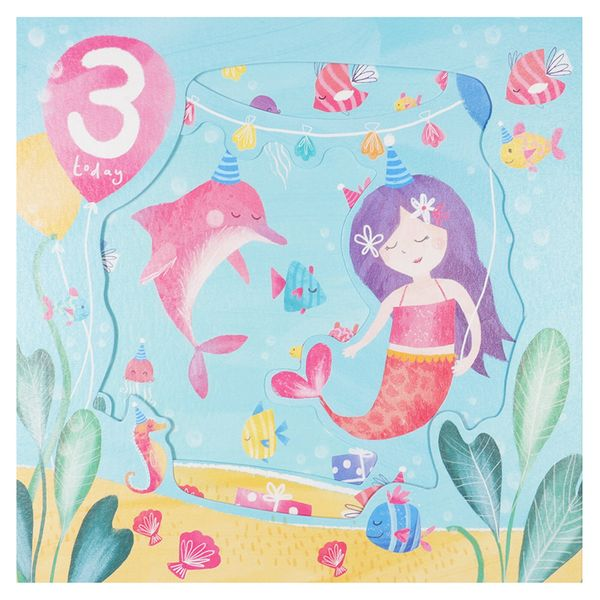 Pull out mermaid 3rd birthday card