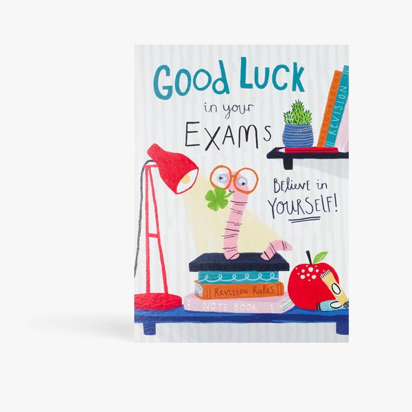 Book worm good luck in your exams card