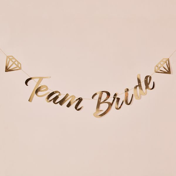 Gold team bride paper bunting