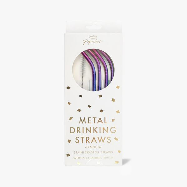 Ginger Ray for Paperchase rainbow steel straws