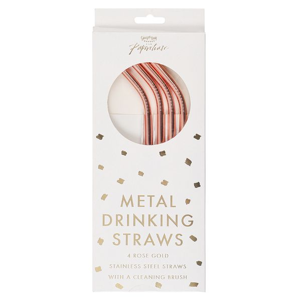 Ginger Ray for Paperchase rose gold metal straws