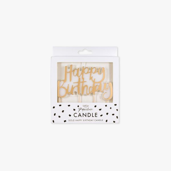 Ginger Ray for Paperchase gold happy birthday candle