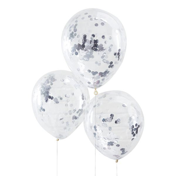 Ginger Ray for Paperchase silver confetti-filled balloons