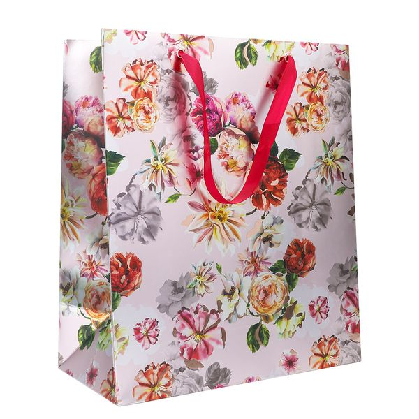 Large peony floral gift bag