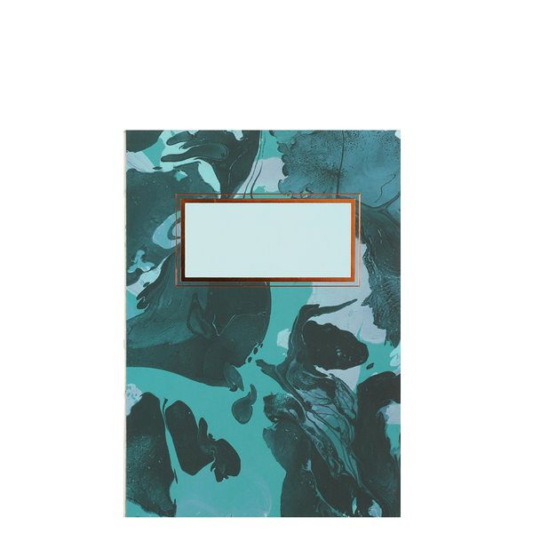 A6 open spine green marble notebook